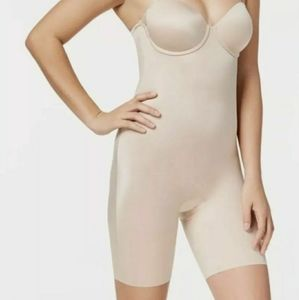 Spanx Suit Your Fancy Mid Thigh Bodysuit  Nude NWT